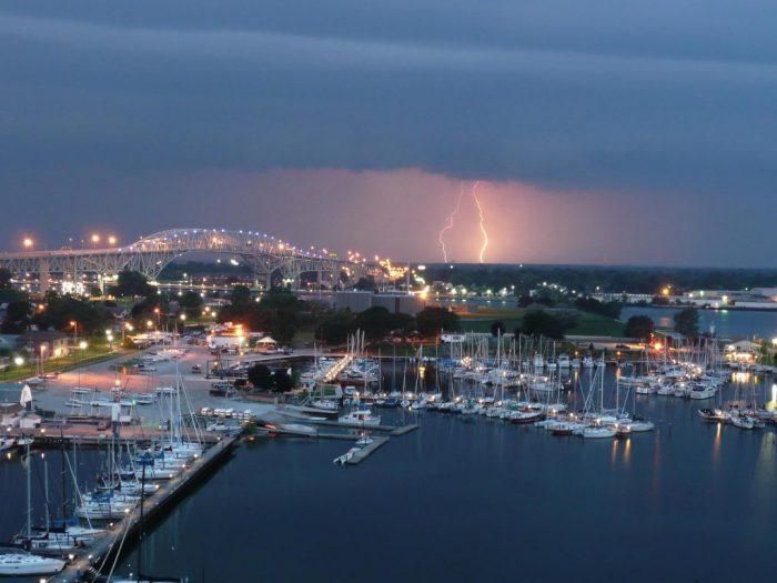 lightning over the yacht club
